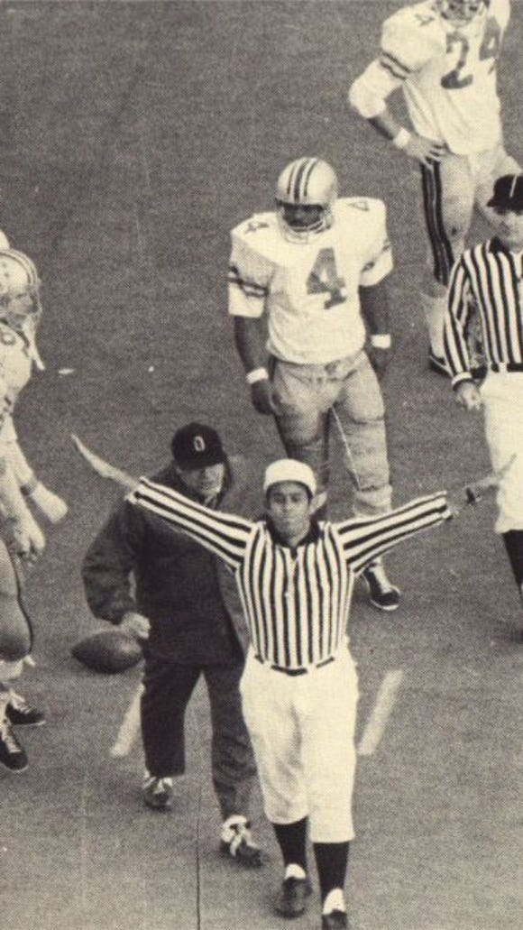 Legendary Ohio State football coach Woody Hayes often did not see eye to eye with conference referees.