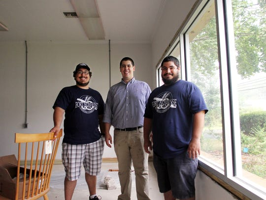 Owners of Fort Nonsense Brewing, James, l, Thomas and Andrew Aslanian at their space on Route 10 in Denville. The brewery is expected to open this fall. August 2, 2017. Denville, NJ