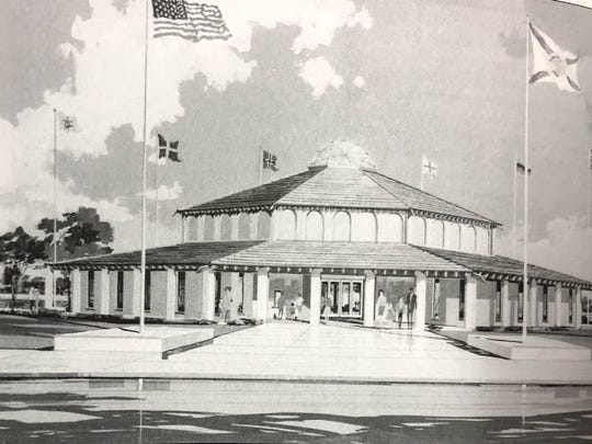 """An architectural rendering of the Museum of Sunken Treasure from Ray Osbourne's """"Cape Canaveral. Images of America: Florida."""""""