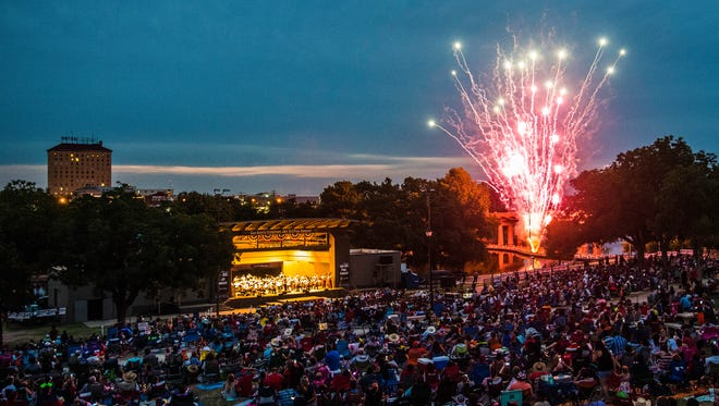 The show begins! The crowd enjoys the 2017 July 3rd Pops Concert from the Bill Aylor Sr. Memorial RiverStage on the Concho River in downtown San Angelo.