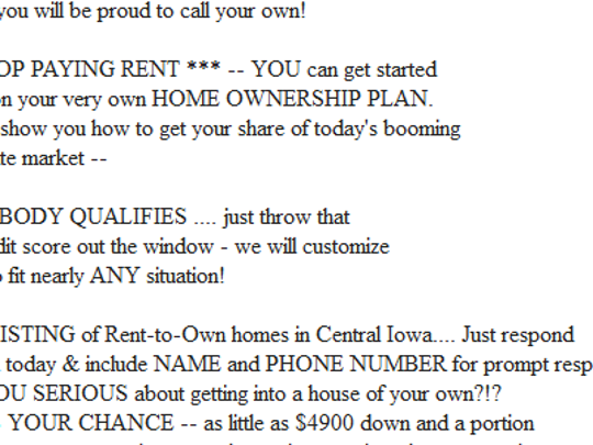 An example of rent-to-own advertising found this week on Craigslist for the Des Moines area.