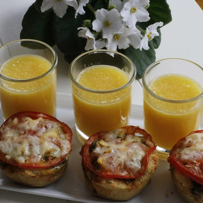 Easy overnight individual egg strata can be prepped the night before.