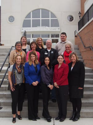 Representatives from the 11 participating organizations are, back row, from left: Mary Endries, Marian University; Amy Hansen, Downtown Fond du Lac Partnership; Trevor Block, Marian University; second row, from left: Marilyn Zangl, Fondy Food Pantry; Christa Williams, Sophia Foundation; Paul Osterholm, Habitat for Humanity; Tammy Young, Big Brothers Big Sisters; front row, from left: Holly Luehring, Charity Club; Tracy Milkowski, Marian University; Andrea Hansen, Children's Museum of Fond du Lac; Terry Hansen-Beno, Broken Bread Food Program; Jacqui Corsi, Thelma Sadoff Center for the Arts.