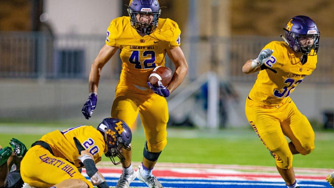 Liberty Hill running back Blake Simpson, seen in action last year versus Connally, had 161 yards on 10 carries in the Panthers' 86-0 win over Travis on Thursday. Liberty Hill ran for 481 yards in the victory.