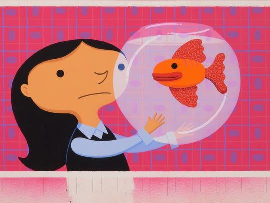"""""""The Birthday Fish"""" by Dan Yaccarino, gouache on paper."""
