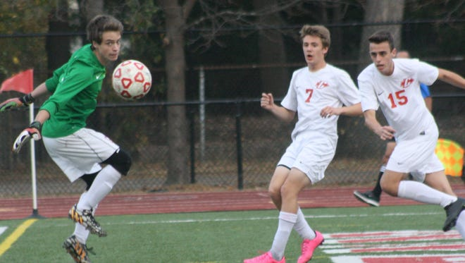 Canton's Hunter Olson (7) and Luke Kurili (15) watch Kurili's header sail past Churchill keeper Brandon Dix and into the net for the only goal in Wednesday's Division 1 semifinal game.