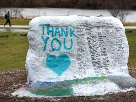 The Rock on Michigan State University's campus is photographed