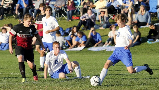 Connor Thorpe of Horseheads kicks the ball forward last season during a win over Elmira.