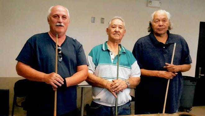 Munson billiards tournament July 2018 winners, from left, Gary Gardner of Las Cruces (first); Orlando Sisneros of Alamogordo (second); and Charlie Gardner of Las Cruces.