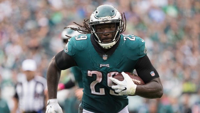 LeGarrette Blount ran for a team-best 766 yards on 173 carries and two touchdowns with the Eagles in 2017. He added three scores in the playoffs.