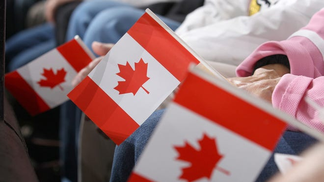 Fans hold Canadian flags as they watch an NHL game.