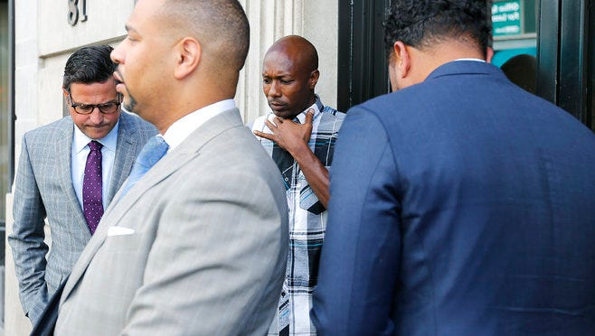 Henry Wiliams (second from right), father of Darrius Stewart, stands with his attorneys, Murray Wells (from left), Carlos Moore and Arthur Horne during a press conference outside their law office following news that the Department of Justice has closed their review of the Darrius Stewart case. Edward L. Stanton III, U.S. Attorney for the Western District of Tennessee, said there is insufficient evidence to bring federal civil rights charges against Connor Schilling in the death of Darrius Stewart in 2015.