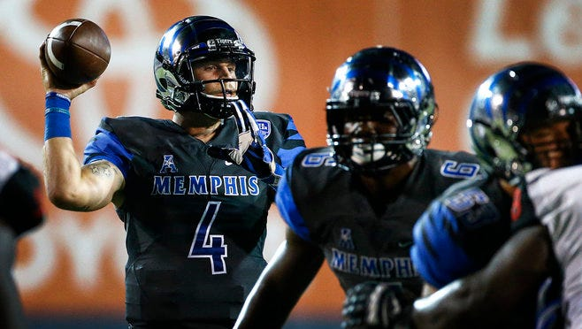 Memphis quarterback Riley Ferguson (left) completed 26 of 40 passing attempts leading to 295 yards and 3 touchdown against Southeast Missouri State at Liberty Bowl Memorial Stadium.