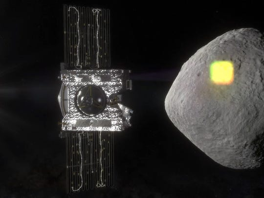 This artist's rendering shows what it may look like when the Osiris-Rex spacecraft maps the asteroid Bennu.