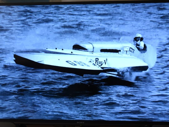 Sandy Ross will present a slideshow of hydroplane racing boats, including images like this racing boat from the 1950s, during this August's Spirit of Detroit HydroFest.