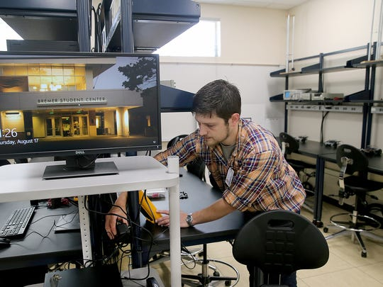 Philip Dodge is a lab instructor for the WSU electrical engineering program at Olympic College. The college offers four-year degrees in mechanical and electrical engineering in partnership with Washington State University, and opens a new lab for the program this week.