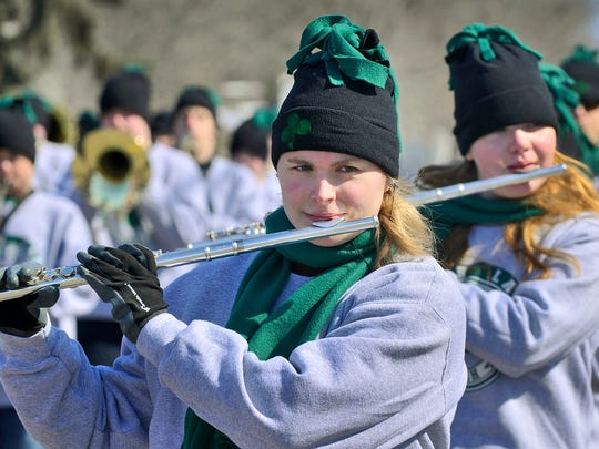 In this 2013 photo, members of the Maple Lake High School Marching Irish donned special winter clothing for their appearance in the parade.