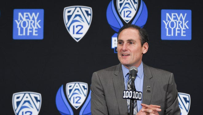 March 11, 2016: Pac-12 commissioner Larry Scott addresses the media in a press conference before the semifinals of the Pac-12 Conference tournament between the Oregon State Beavers and the California Golden Bears at MGM Grand Garden Arena.