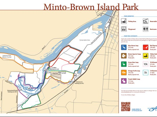 This map shows the general area kayaked — through Willamette Slough, Minto-Brown Island Park, Oxbow Slough and the Willamette River.