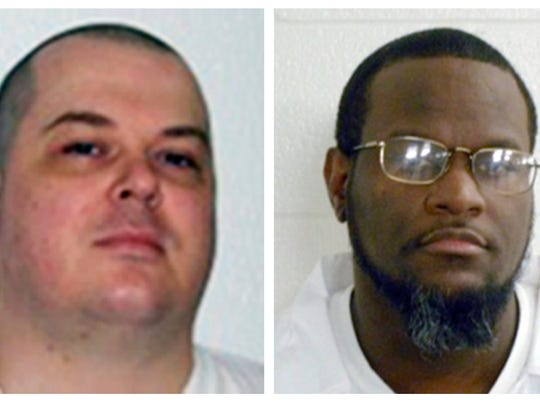This combination of undated file photos provided by the Arkansas Department of Correction shows death-row inmates Jason F. McGehee, left, and Kenneth Williams. Both men are scheduled for execution on April 27, 2017.