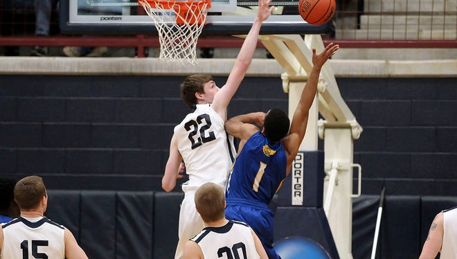 LVC's Andy Orr goes up for a block against Widener in a home regular-season last February. The sophomore forward is the Dutchmen's top returning scorer from 2014-15.