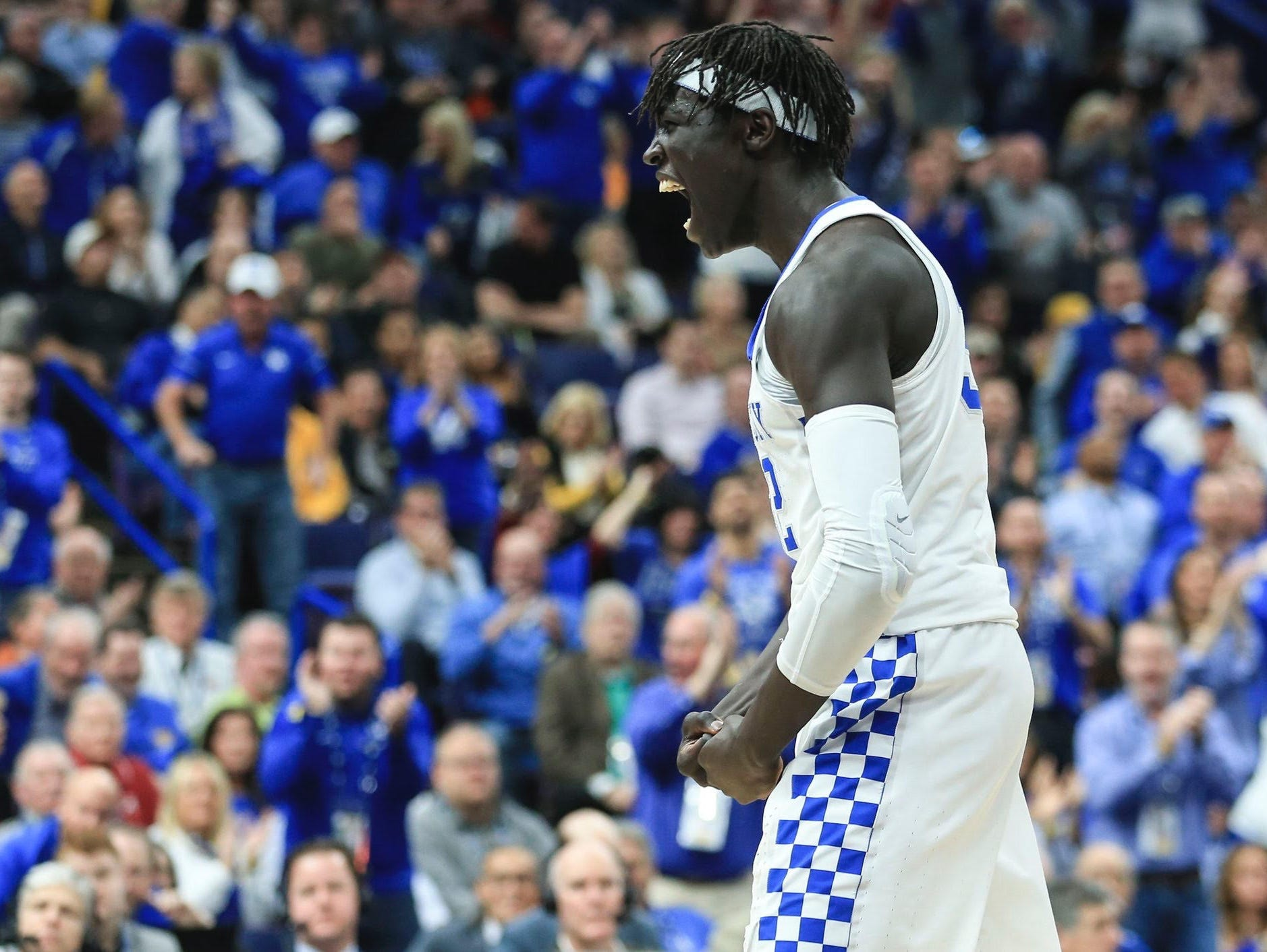 UK forward Wenyen Gabriel celebrates during the first half of the Wildcats' SEC Tournament game against Alabama.