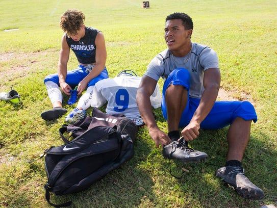 Chandler High running backs Drake Anderson (left) and