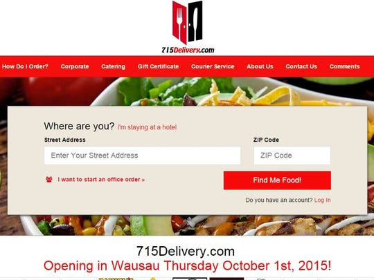 A screenshot of 715Delivery.com taken on Oct. 1, 2015.