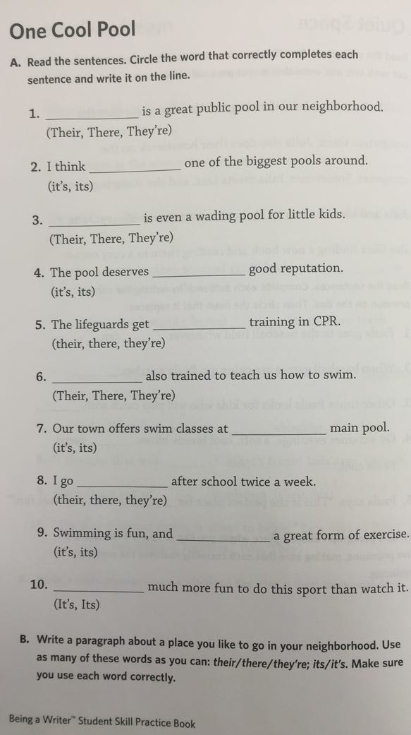 A fourth-grade English Language Arts assignment in