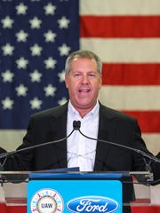 Joe Hinrichs, then-Ford Motor Company President of the Americas, makes comments during the official launch of the newest Super Duty truck line produced at the Kentucky Truck Plant in Louisville, Kentucky in 2016.
