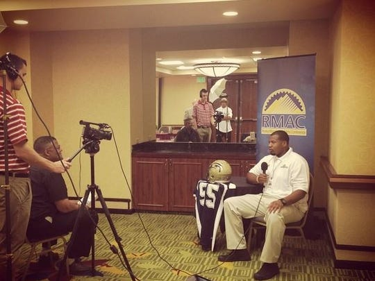 Arthur Ray Jr. talks at Rocky Mountain Athletic Conference media day last fall. After leaving MSU in December 2012, Ray was a two-time captain for the Fort Lewis State Skyhawks under former Spartans coach John L. Smith.