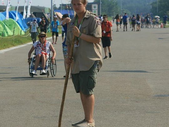 Marcello Musca, a Boy Scout from Naples, used a bamboo pole to propel himself on his skateboard at the 23rd World Scout Jamboree that took place in August at Kirara-hama, Yamaguchi, Japan.