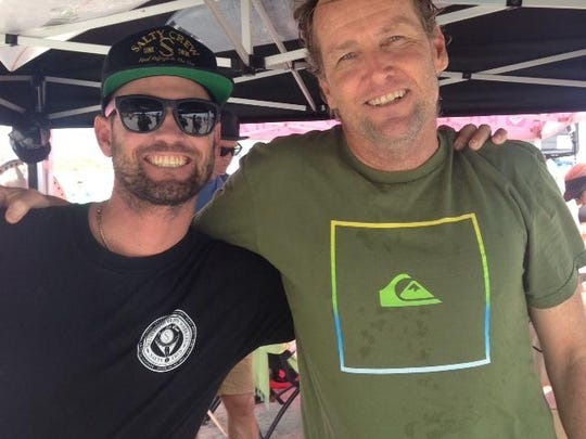Former world tour surfing stars C.J. Hobgood, left, and Matt Kechele got together at an event in Cocoa Beach. Kechele, owner of Matt Kechele Surfboards, feels that Florida will get its large wave pool soon.