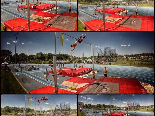 Maclay's Darin Meeker, at last year's state meet in Jacksonville, demonstrates how to pole vault. Meeker finished third and this year enters with Class 1A's top height.
