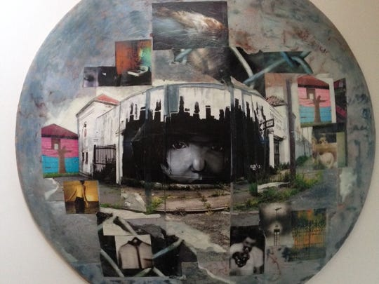 "Ellen Denuto's ""Disc 1: These Mean Streets That I Walk (Lost Girl), photographic collage on ceramic disc (by Barry Zawacki)."