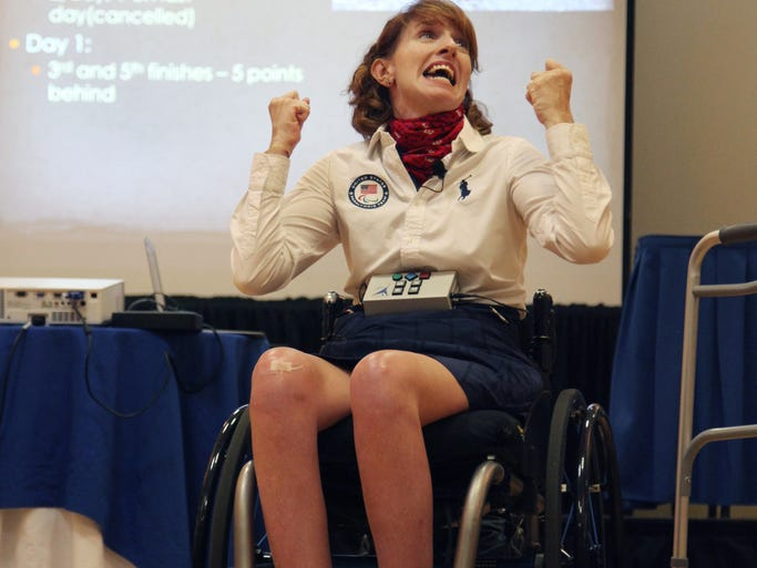 Paralympic silver medalist Jennifer French describes the adversity she and her team faced while competing  in the 2012 Paralympics for sailing while speaking during the 3rd Annual ADA Celebration at Crowne Plaza on Wednesday.
