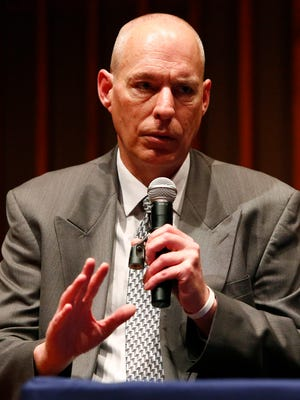 John Schaus, an eight-time OWI offender talks during a panel discussion on ways to combat drunk driving in Wisconsin. The talk took place at Harper Hall on the campus of Lawrence University on Nov. 13.