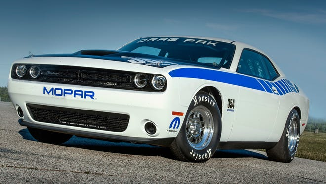 Remaining true to its performance roots, the Mopar brand unveiled the next-generation Mopar Dodge Challenger Drag Pak, a factory-prepped package car specifically geared for drag racing. The vehicle is built on the Dodge Challenger platform and comes in two options. The vehicle pictured is the version with the brand's first ever offering of a supercharged 354 cubic inch Gen III HEMI® engine.