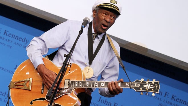 Chuck Berry, rock 'n' roll pioneer, member of Nashville Songwriters Hall of Fame, 90.