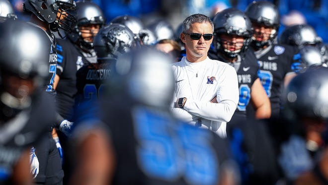Memphis coach Mike Norvell before taking on ECU last season.