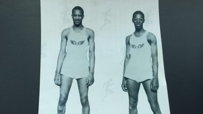 A photo of the Saunders brothers from their track and field days in the 1930s for Glendale High School. Joe, left, and John won a combined 18 individual state championships.