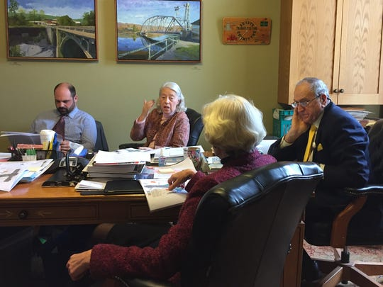 The Senate Committee on Transportation, led by Sen. Dick Mazza, right, discusses traffic congestion at Exit 16 in Colchester on Tuesday, Feb. 7, 2017.