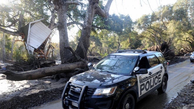 The devastation of the mudslide on East Valley Road  in Montecito. Search-and-rescue crews are looking for the remaining several people missing.
