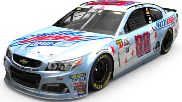 Dale Earnhardt Jr.'s car for Saturday's race has patriotic red, white and blue theme