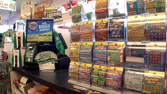 Lottery tickets are shown inside the Wine World in Manchester Township in November.