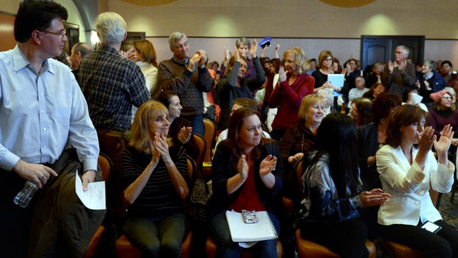 The audience reacts to comments supporting a single-payer health care system in a Camarillo town hall hosted by Rep. Julia Brownley, D-Westlake Village, earlier this year.