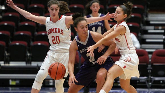 Somers' Hannah Angelini, left, and Christina Morgante,