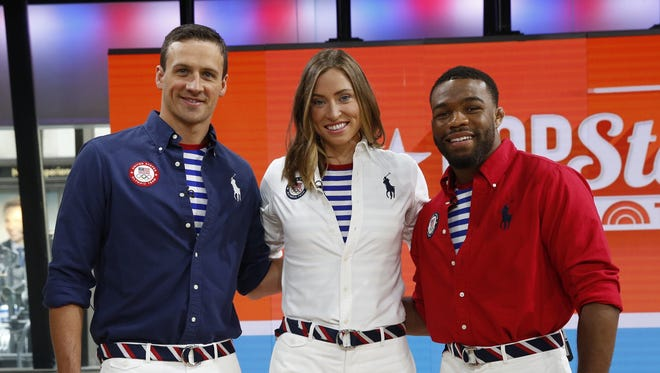 Ralph Lauren uniforms for the closing ceremony were worn by Ryan Lochte, Haley Anderson and Jordan Burroughs.