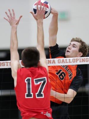 Kaukauna High School's #16 Ben Brochtrup against Kimberly High School's #17 Sam Radtke during their boys volleyball match Tuesday, September 26, 2017, in Kaukauna, Wis.Wm. Glasheen/USA TODAY NETWORK-Wisconsin