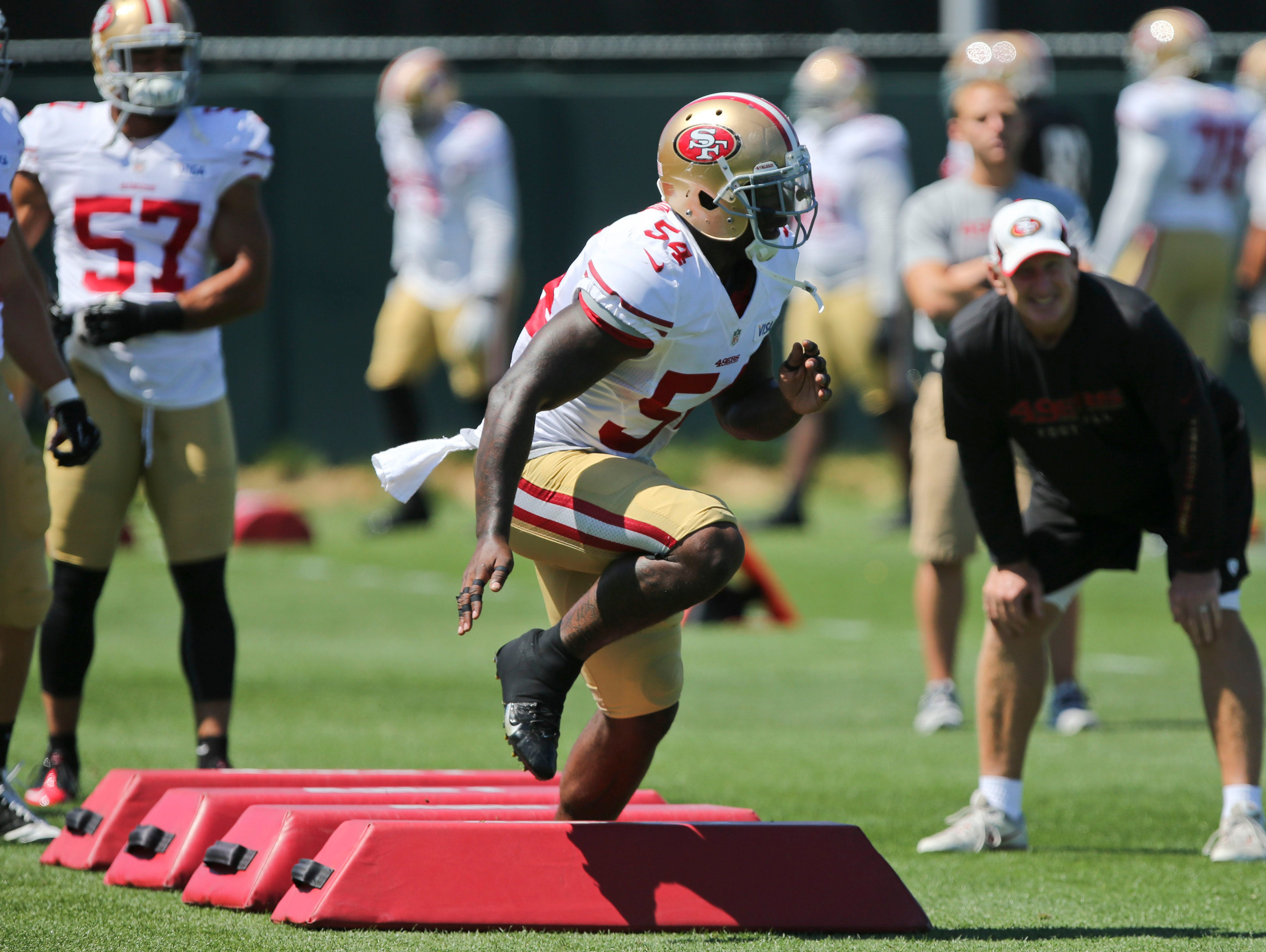 San Francisco 49ers outside linebacker Nick Moody (54) runs drills during 49ers training camp at the 49ers practice facility.